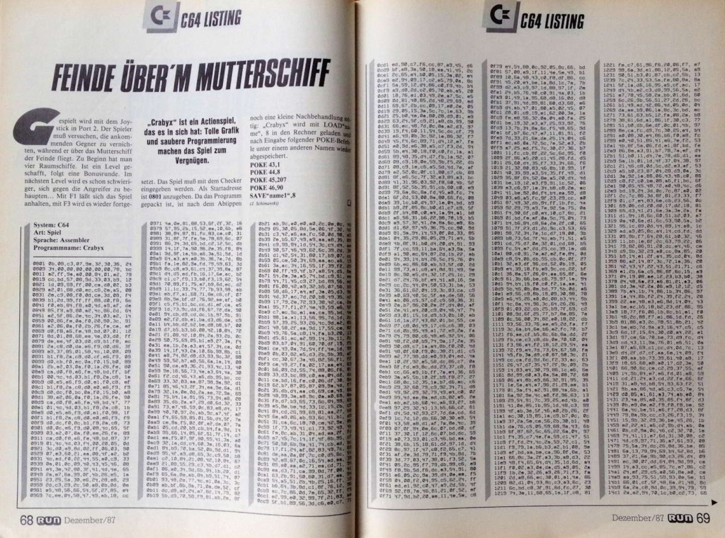 RUN for Retro - Zeitschrift C64 Listing