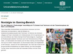 TU Chemnitz Nostalgie im Gaming Bereich Retrogaming