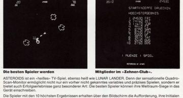 """Asteroids – Die Highscoreliste: Bist du drin, bist du """"In"""". So verspricht die Werbung."""