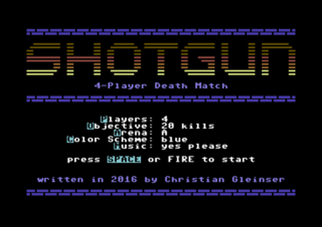 Shotgun C64 Titelbild mit Auswahlmenü