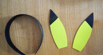 Pikachu Ohren ausgeschnitten und angemalt!
