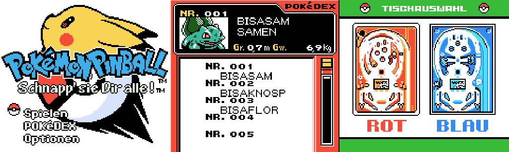 Pokémon Pinball Pokédex und Tischübersicht