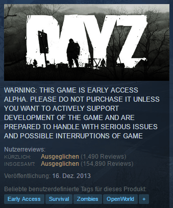dayz early access alpha steam warning