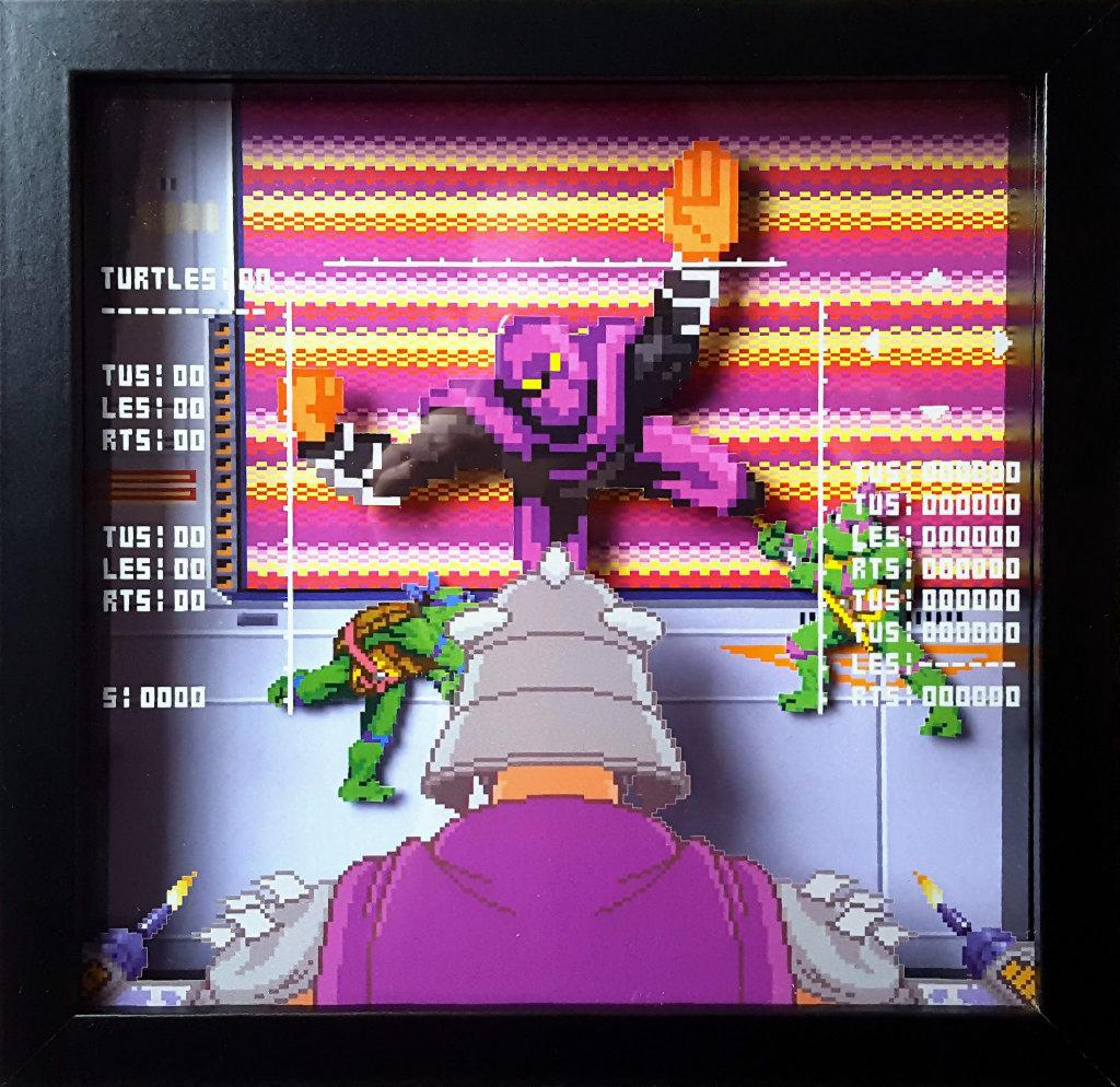 Turtles in Time Shadowbox, sehr gut ist hier der Schattenwurf zu erkennen.